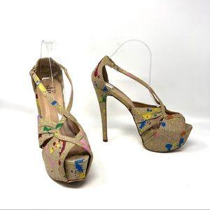 Shi by Journeys Uprise Canvas Platform Heels 9